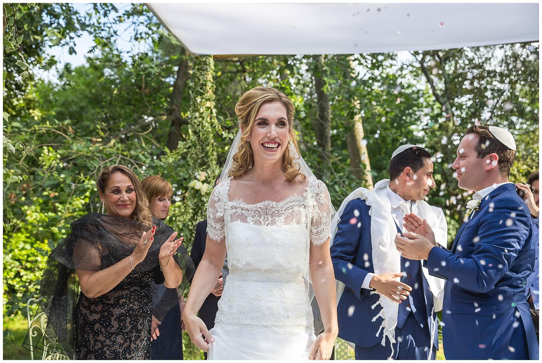 bride and confetti