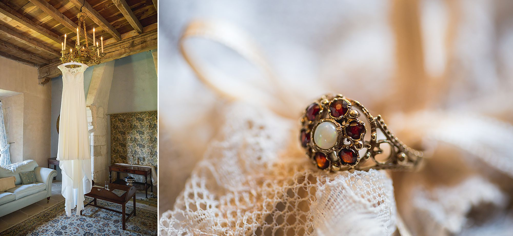 Brides dress hanging up at Chateau Brametourte wedding