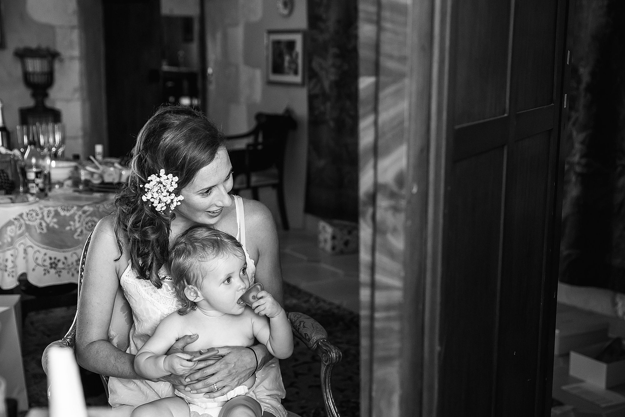 bride and daughter at Chateau Brametourte wedding