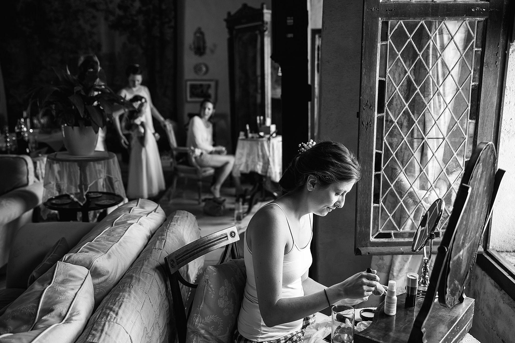 girls all getting ready for the Chateau Brametourte wedding