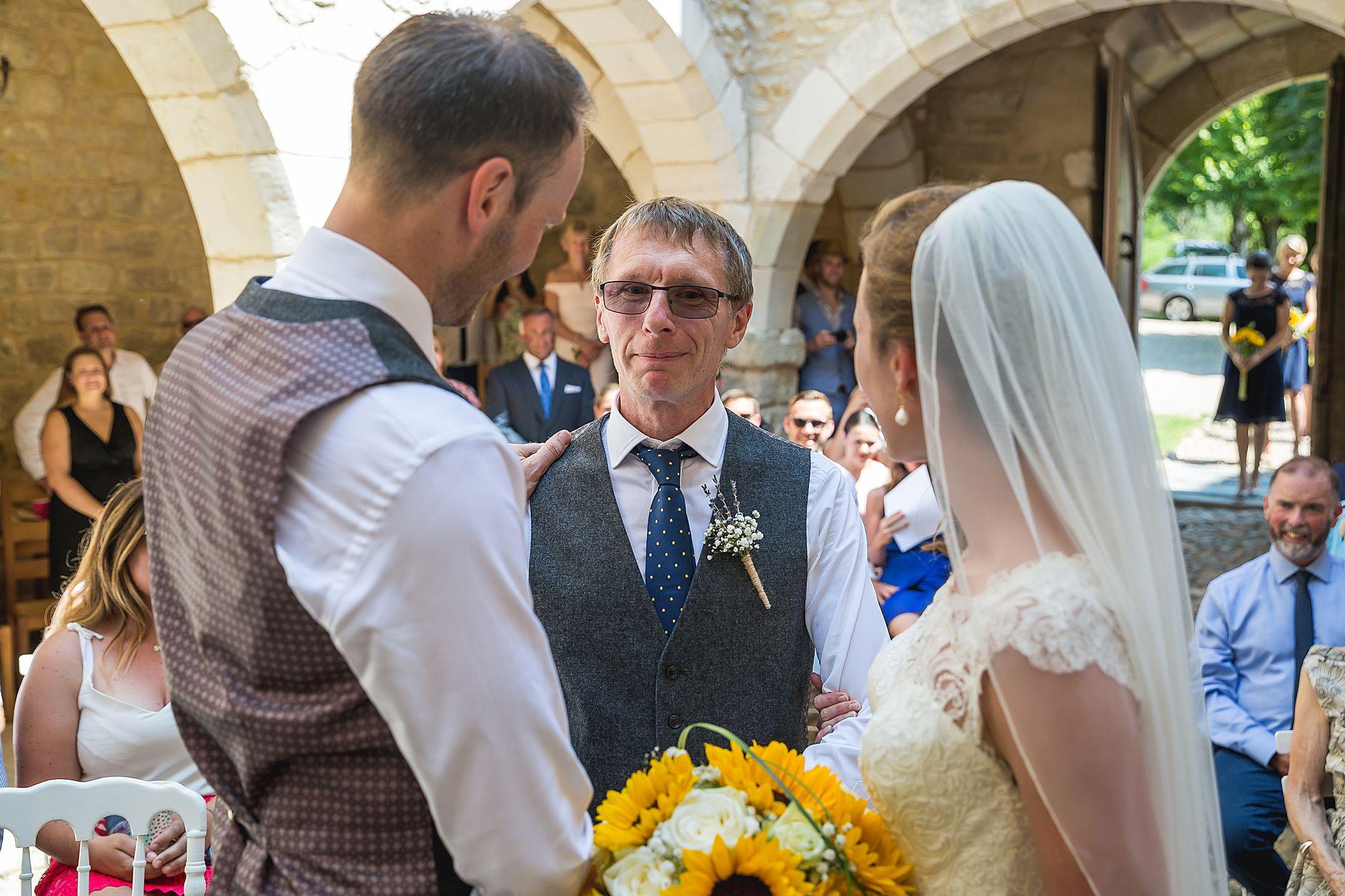 Dad gives bride away