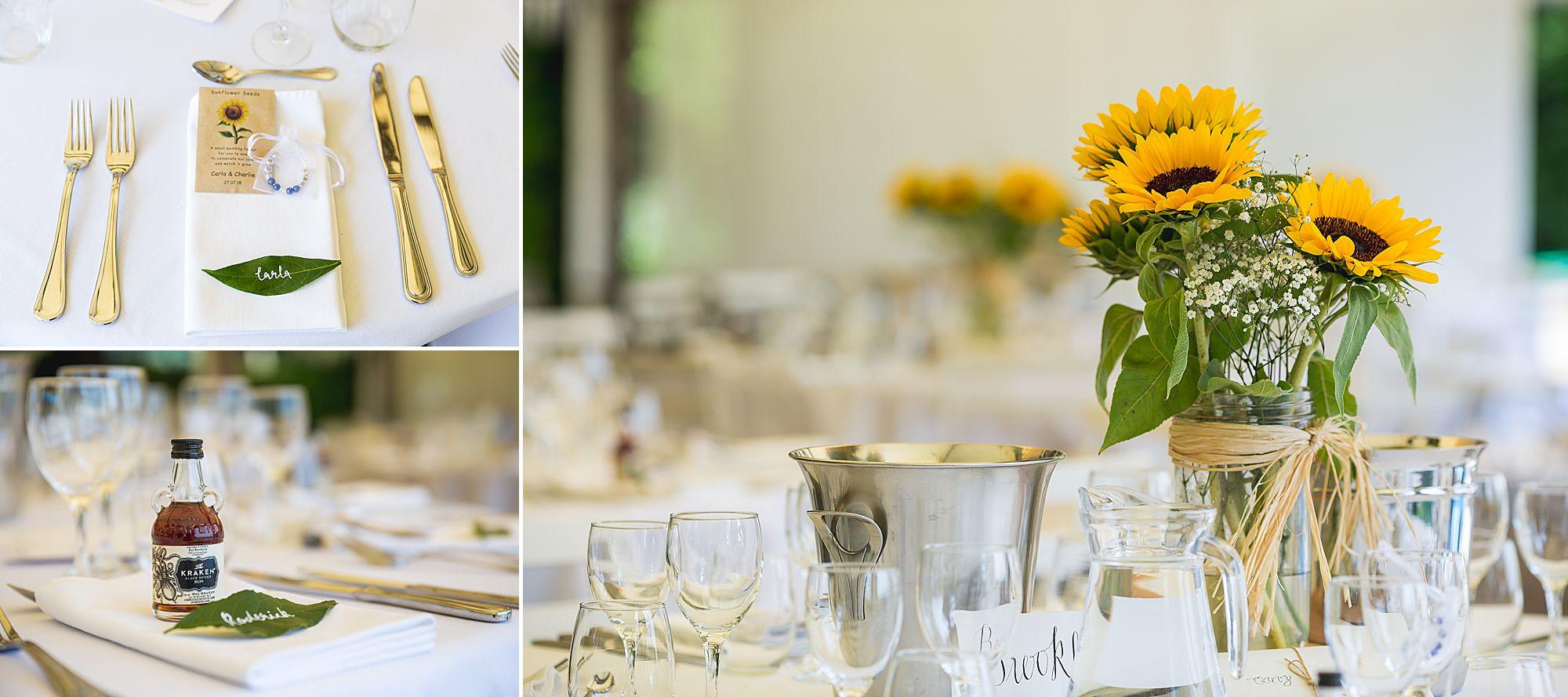 tables at Chateau Brametourte wedding