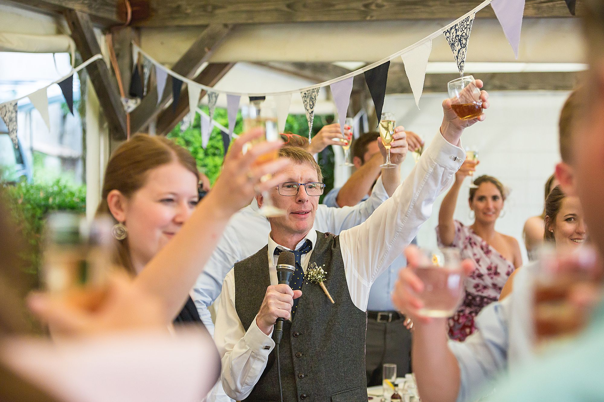guests cheers with champagne