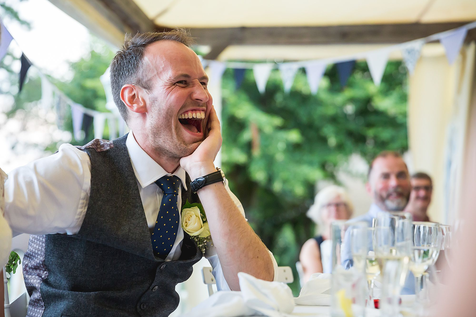 groom laughs