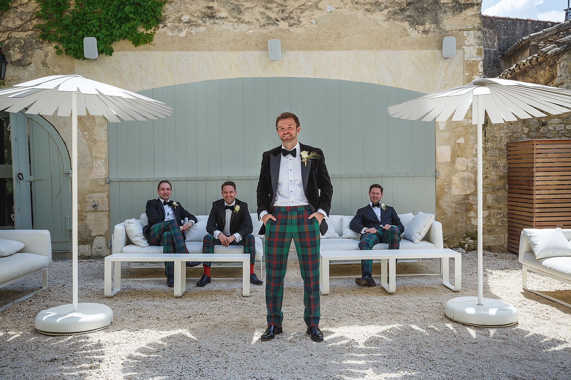 groom and best men at Chateau Provence