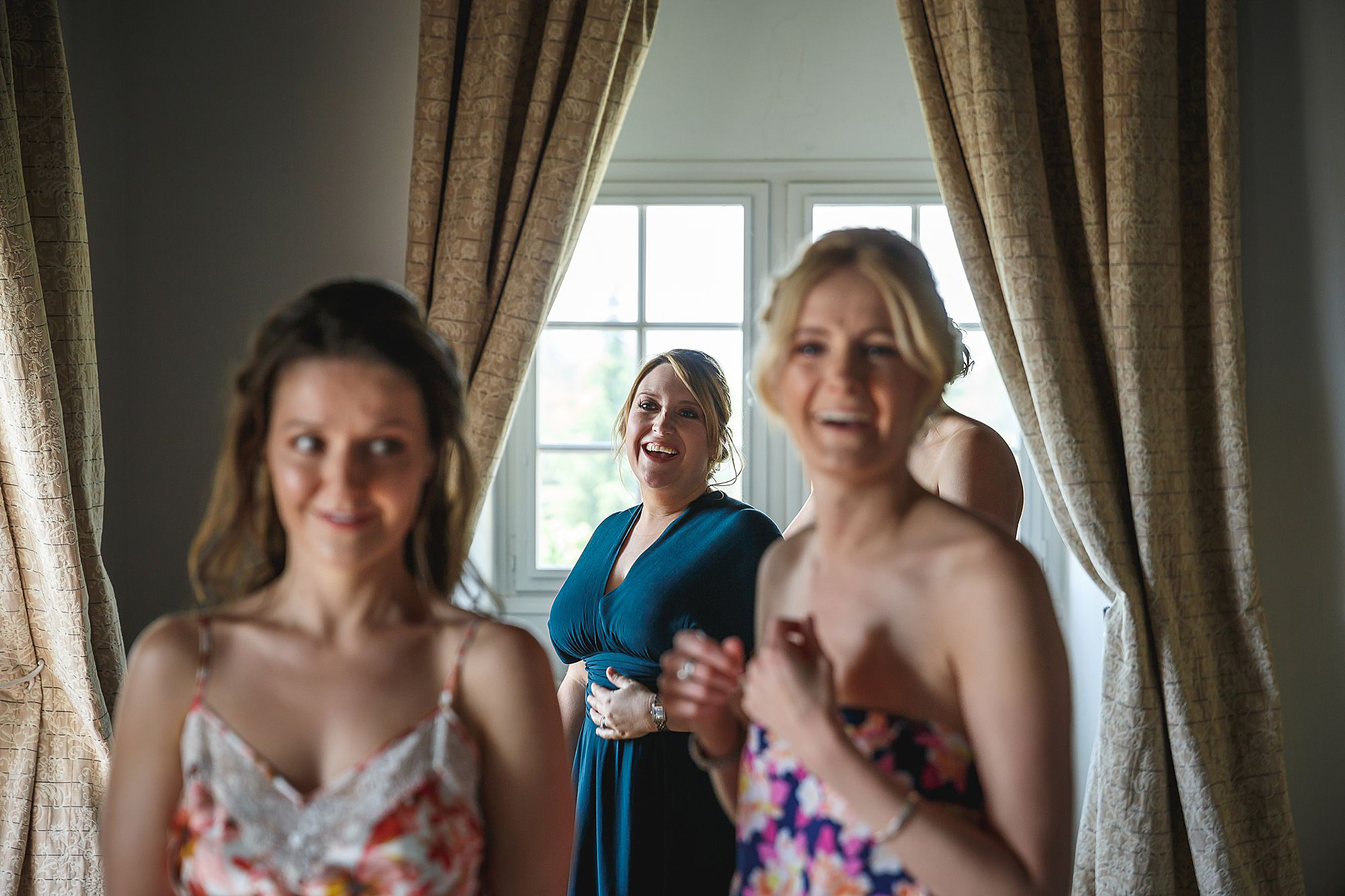 bridesmaid laughs