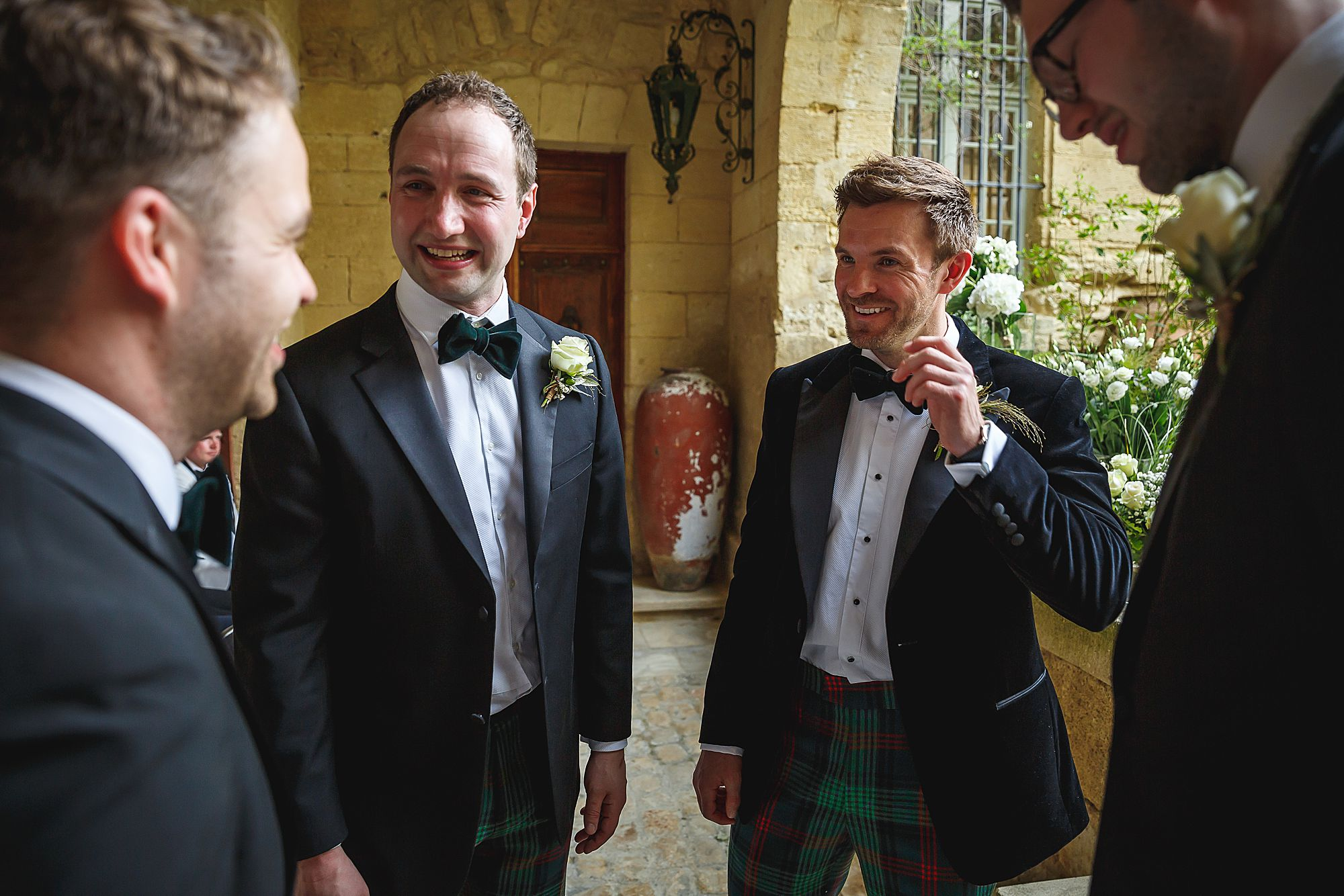 groom waits at Chateau Provence wedding