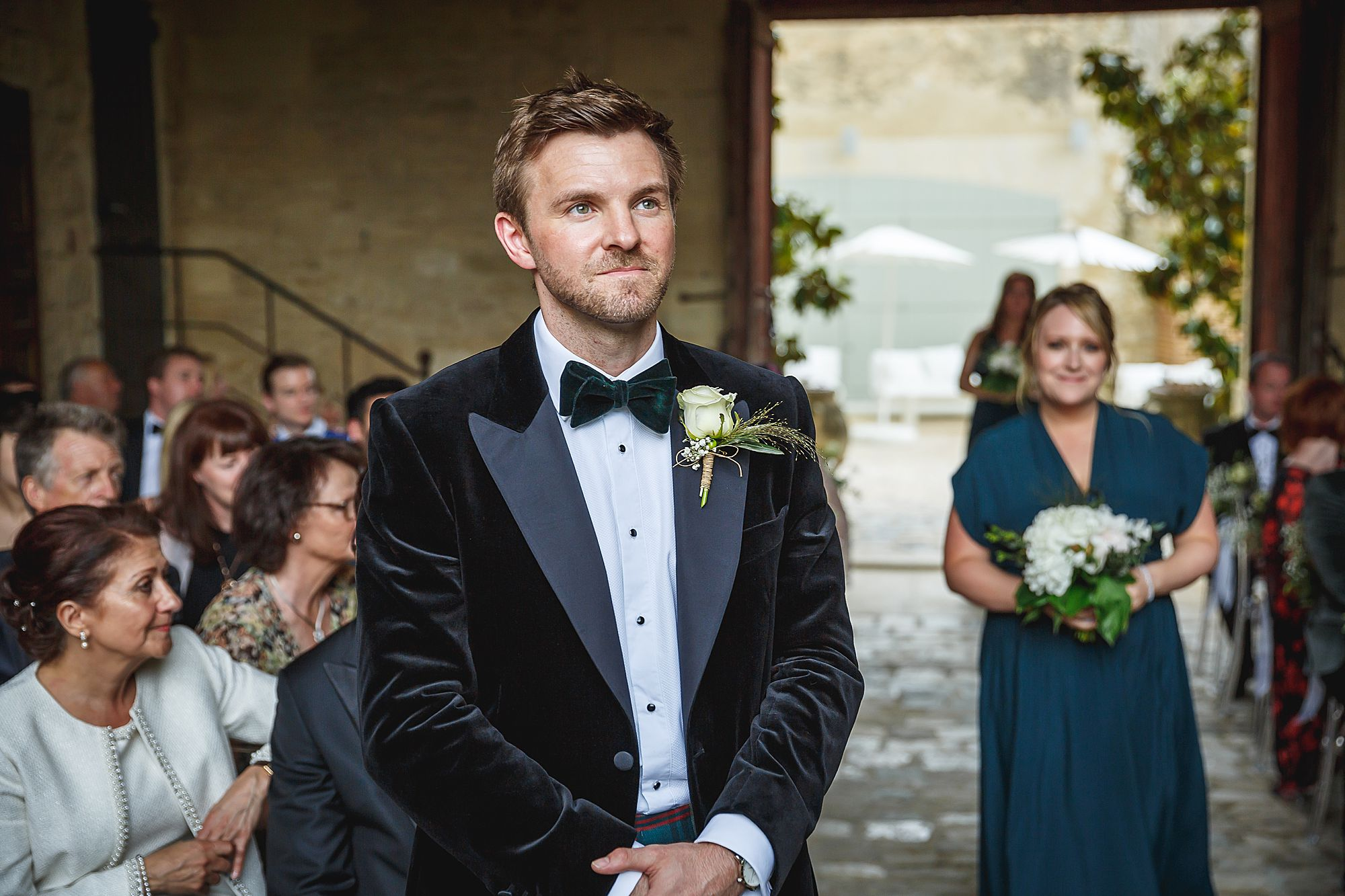 groom waits bride Chateau Provence wedding