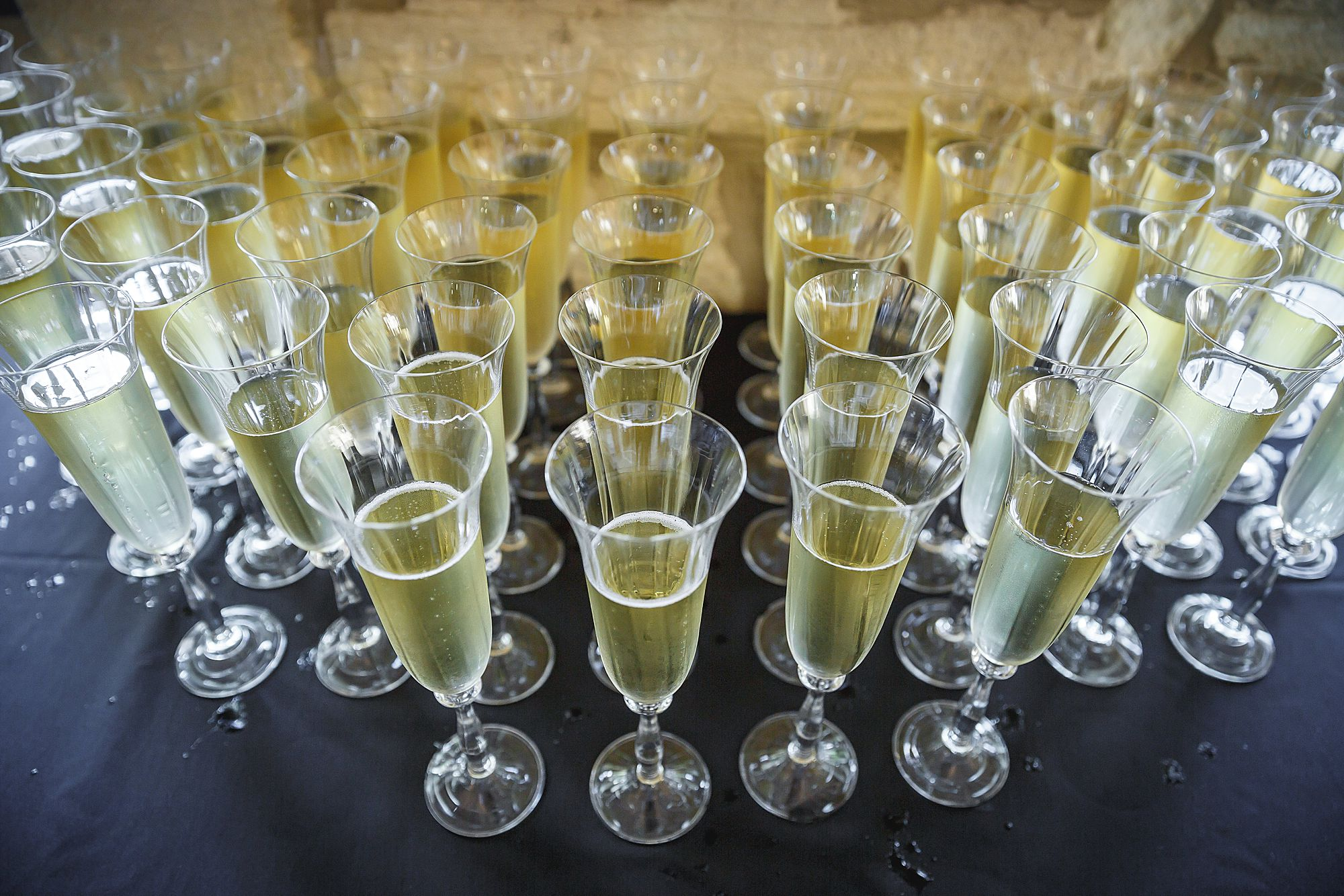 champagne at Chateau Provence wedding