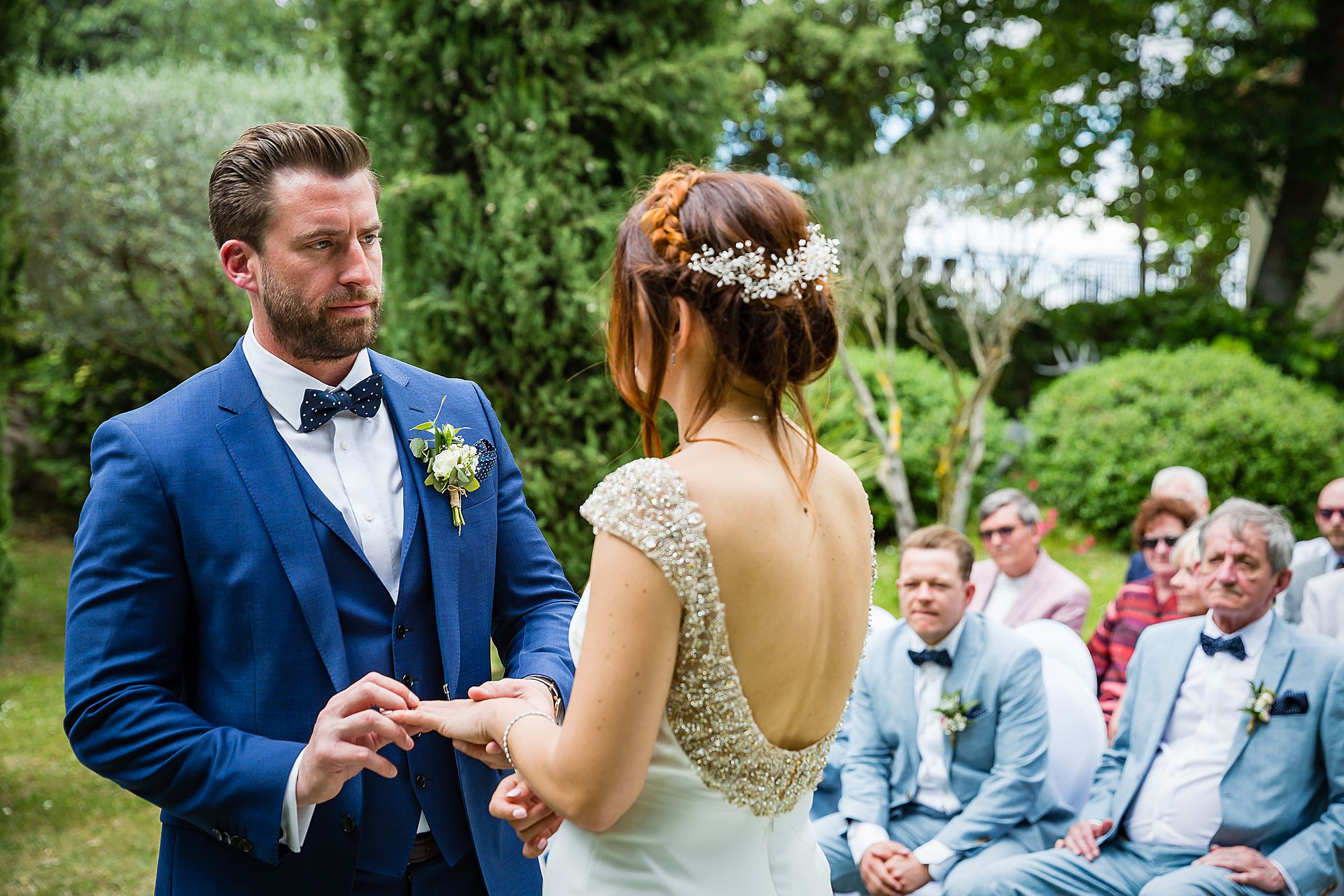 exchange of rings Chateau Rieutort wedding