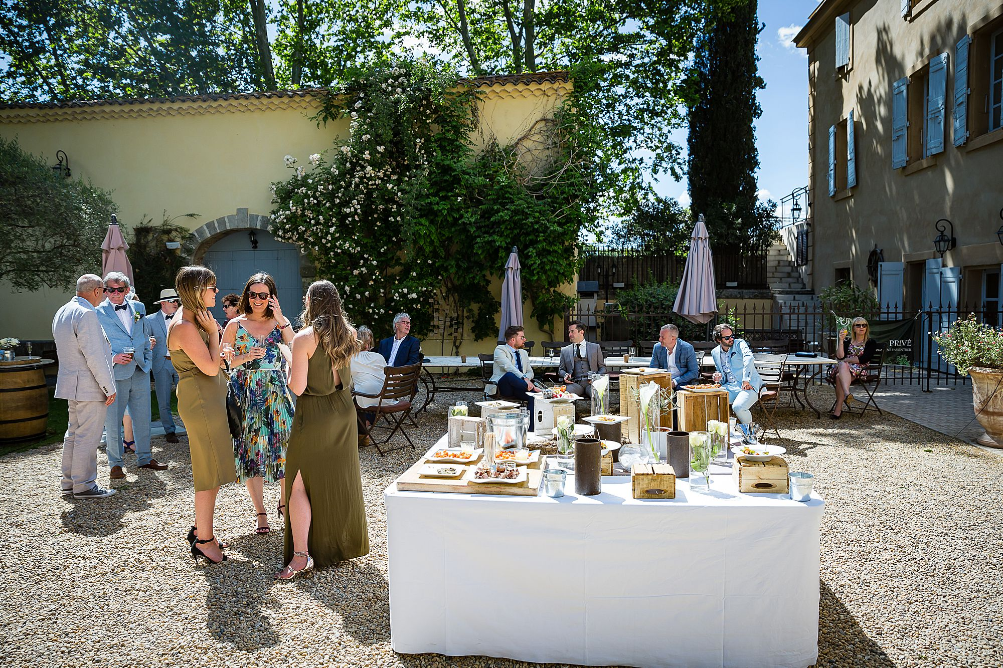 table of food at Chateau Rieutort wedding