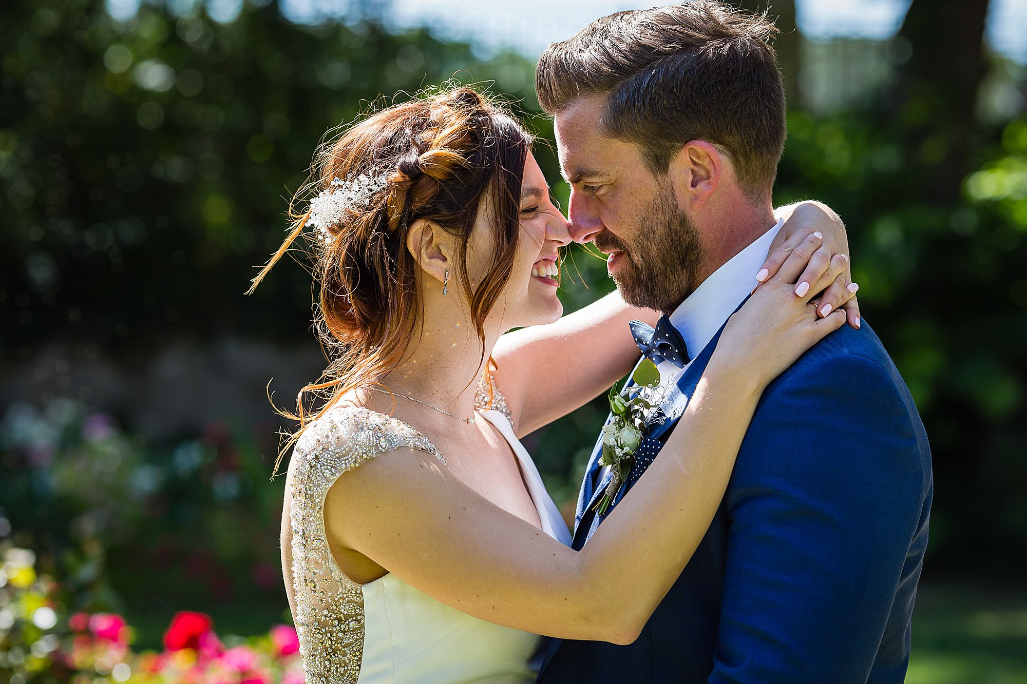 couple get close at Chateau Rieutort wedding