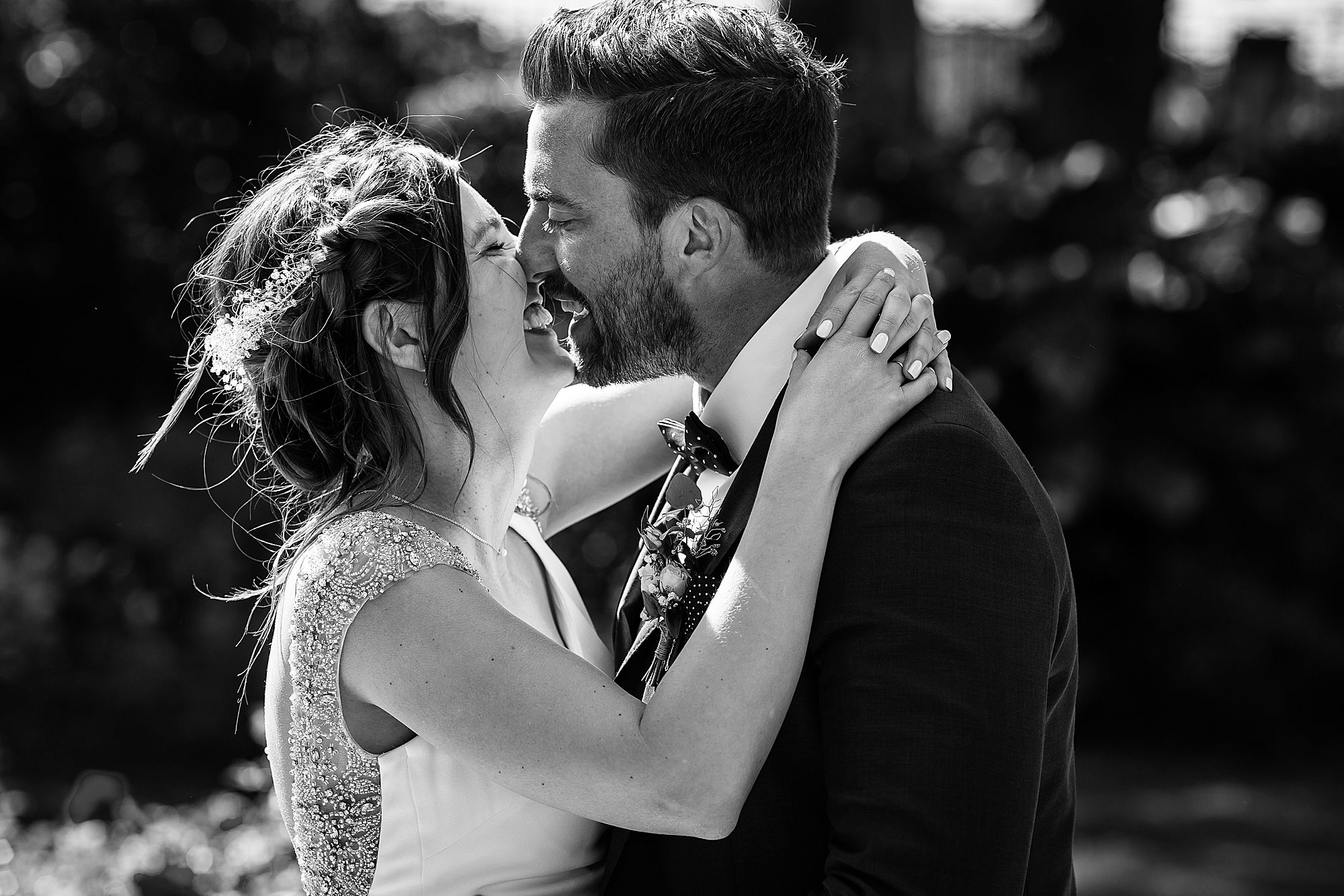 black and white bride and groom kiss at Chateau Rieutort wedding
