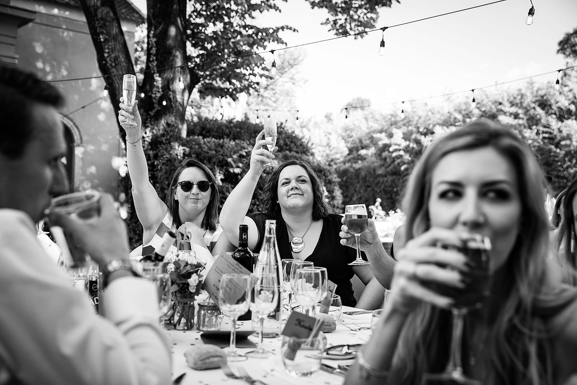 girls raise a glass