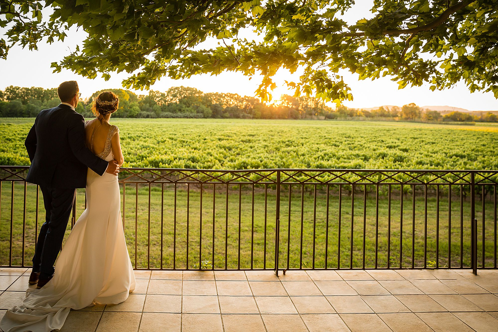 sunset at Chateau Rieutort wedding