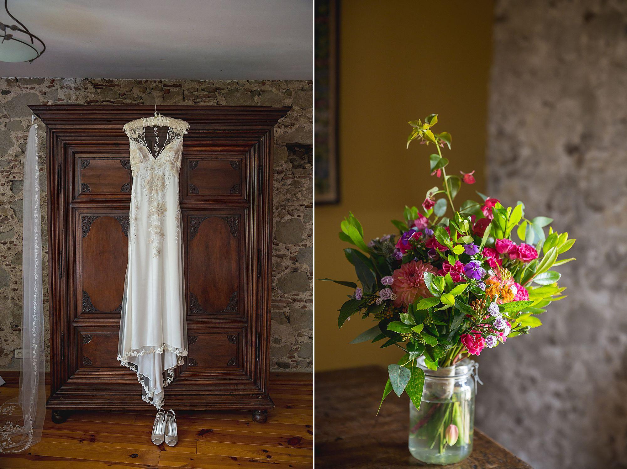 dress hanging at Domaine Gayda wedding