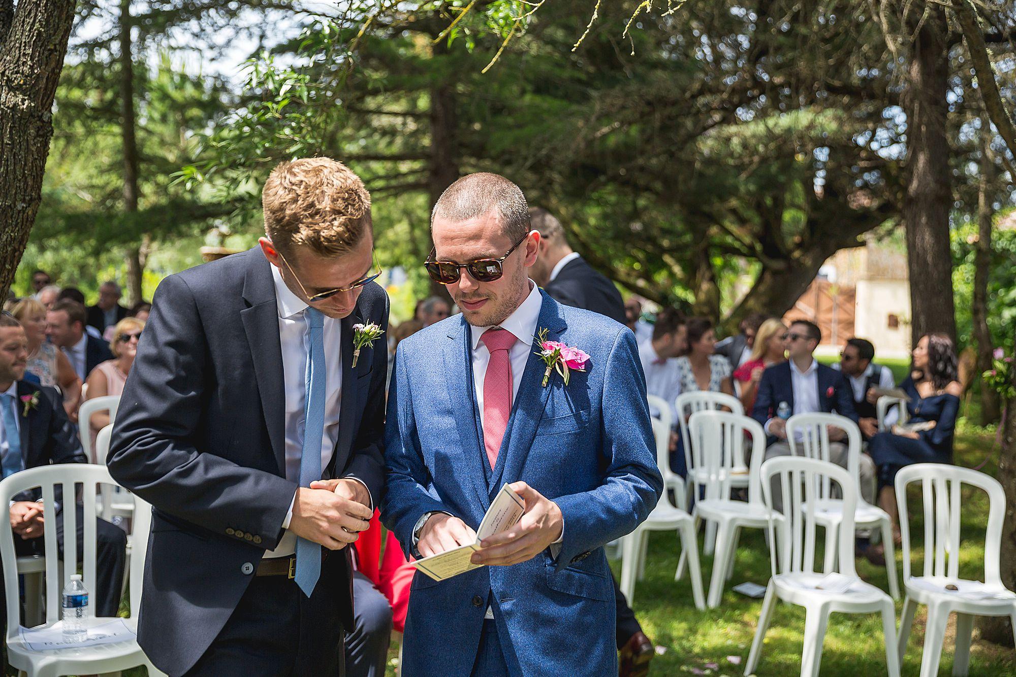 groom waiting for bride at Domain Gayda wedding