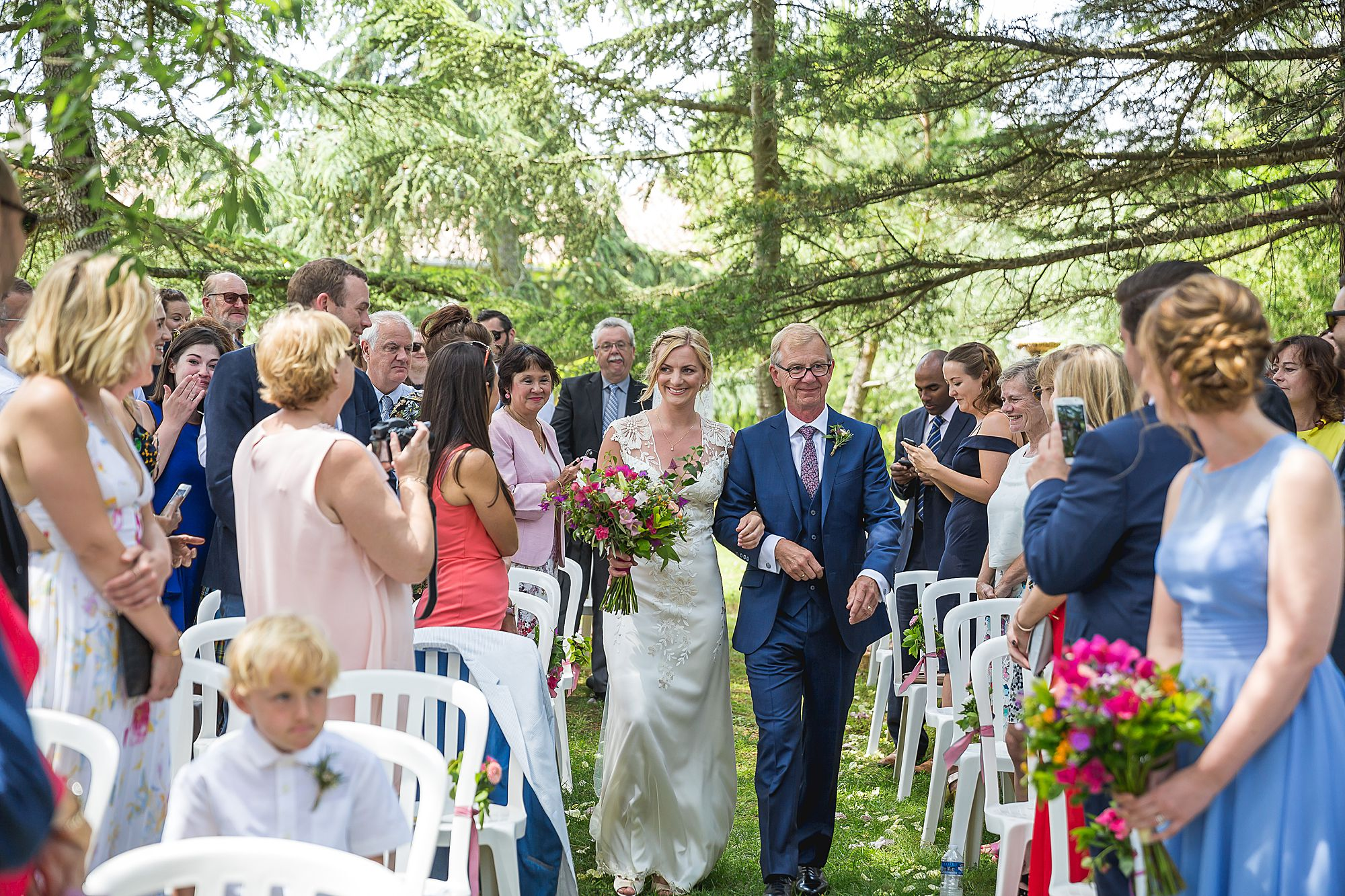 Domaine Gayda wedding walking down the aisle