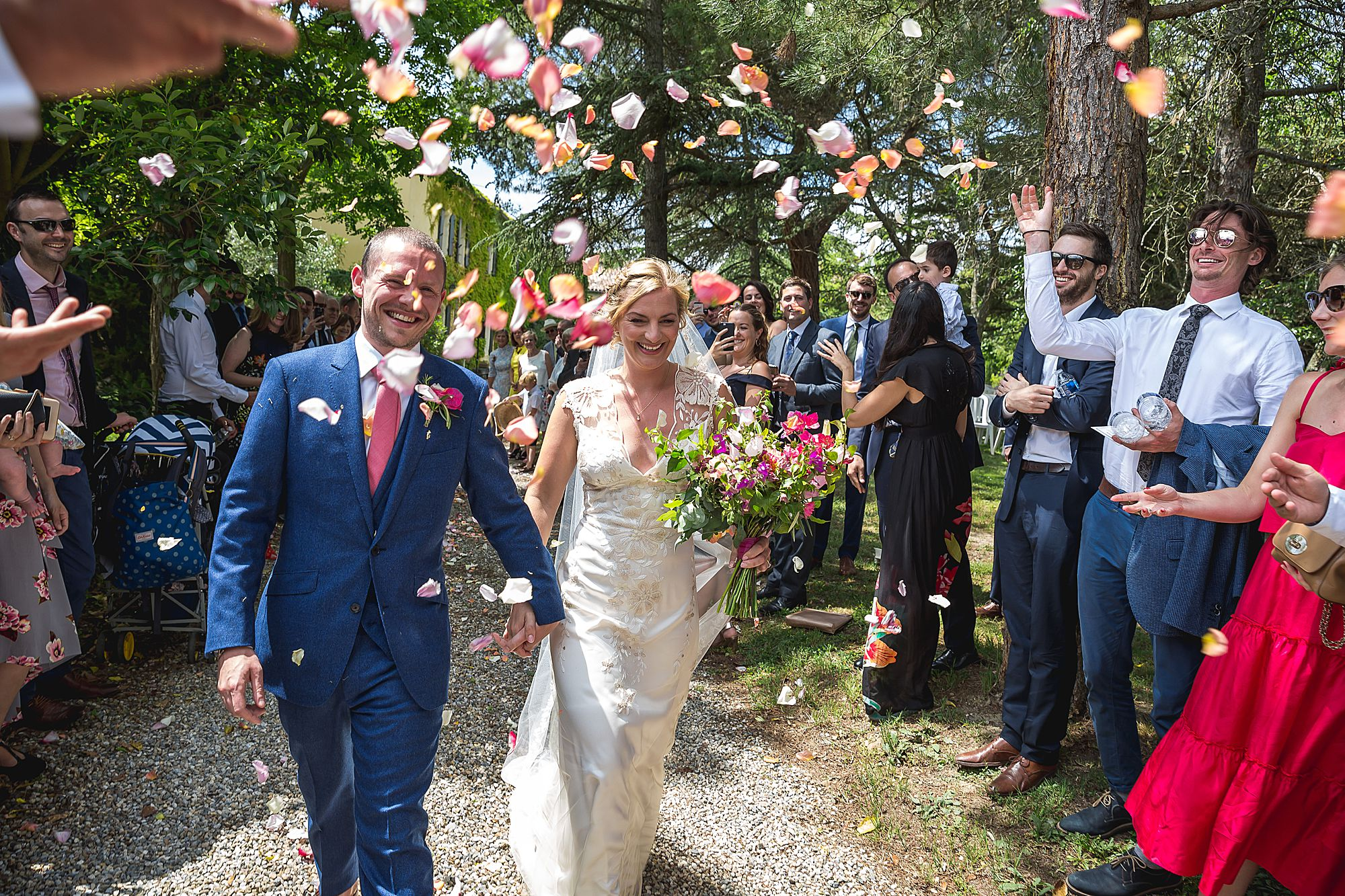 after the Domaine Gayda wedding confetti is thrown