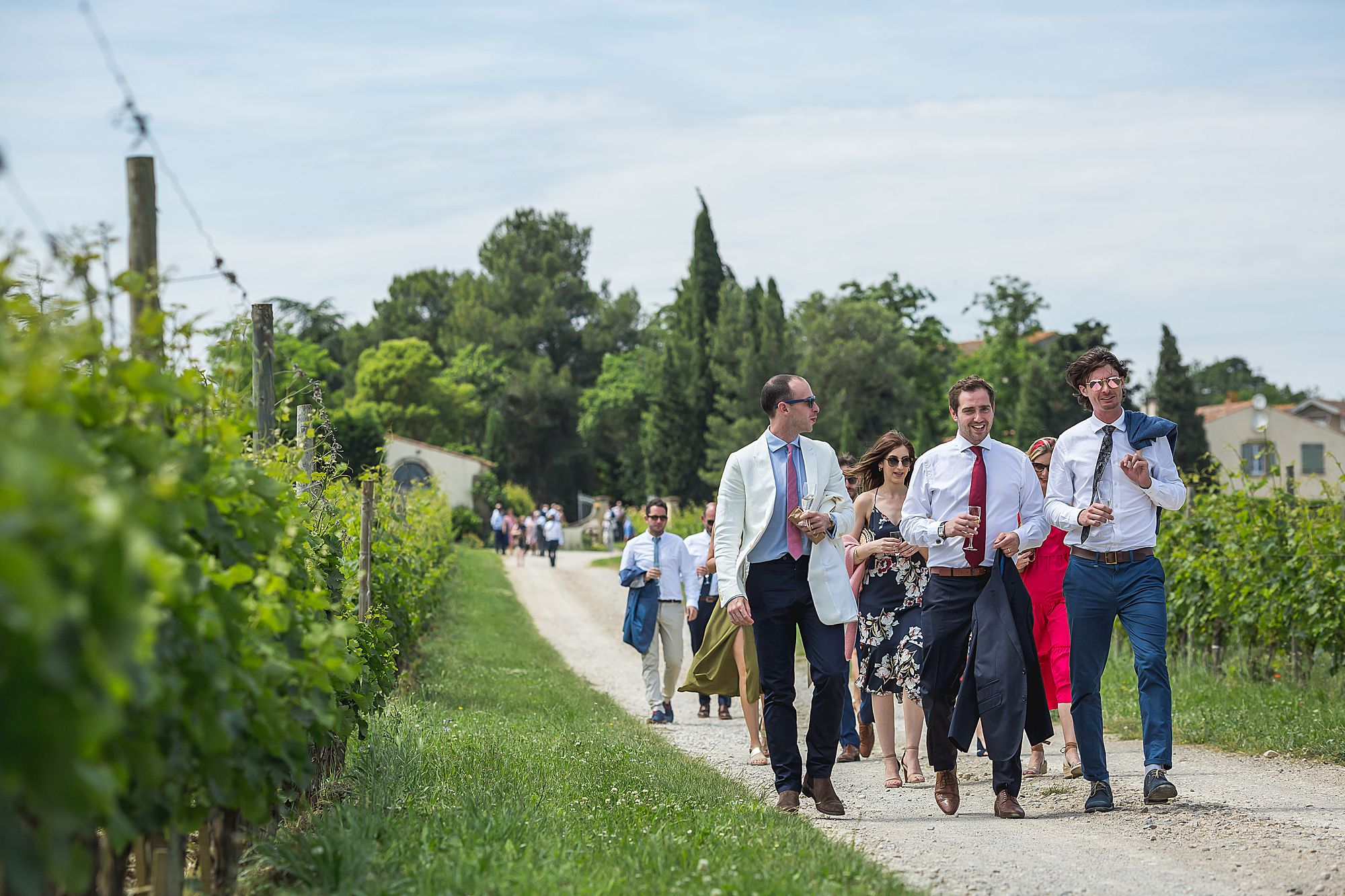walking to the reception at Domaine Gayda wedding