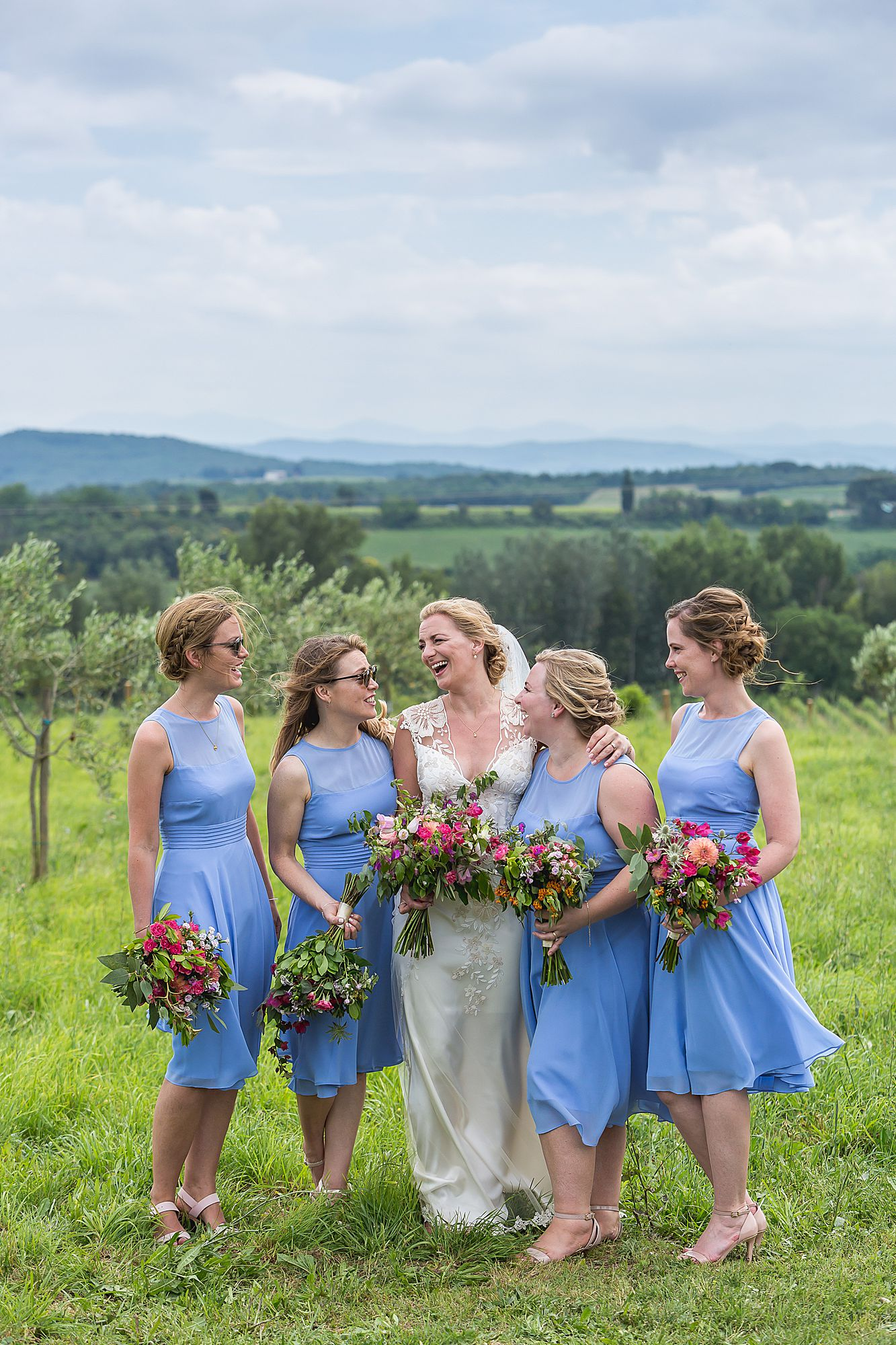 bridesmaids in blue south of France