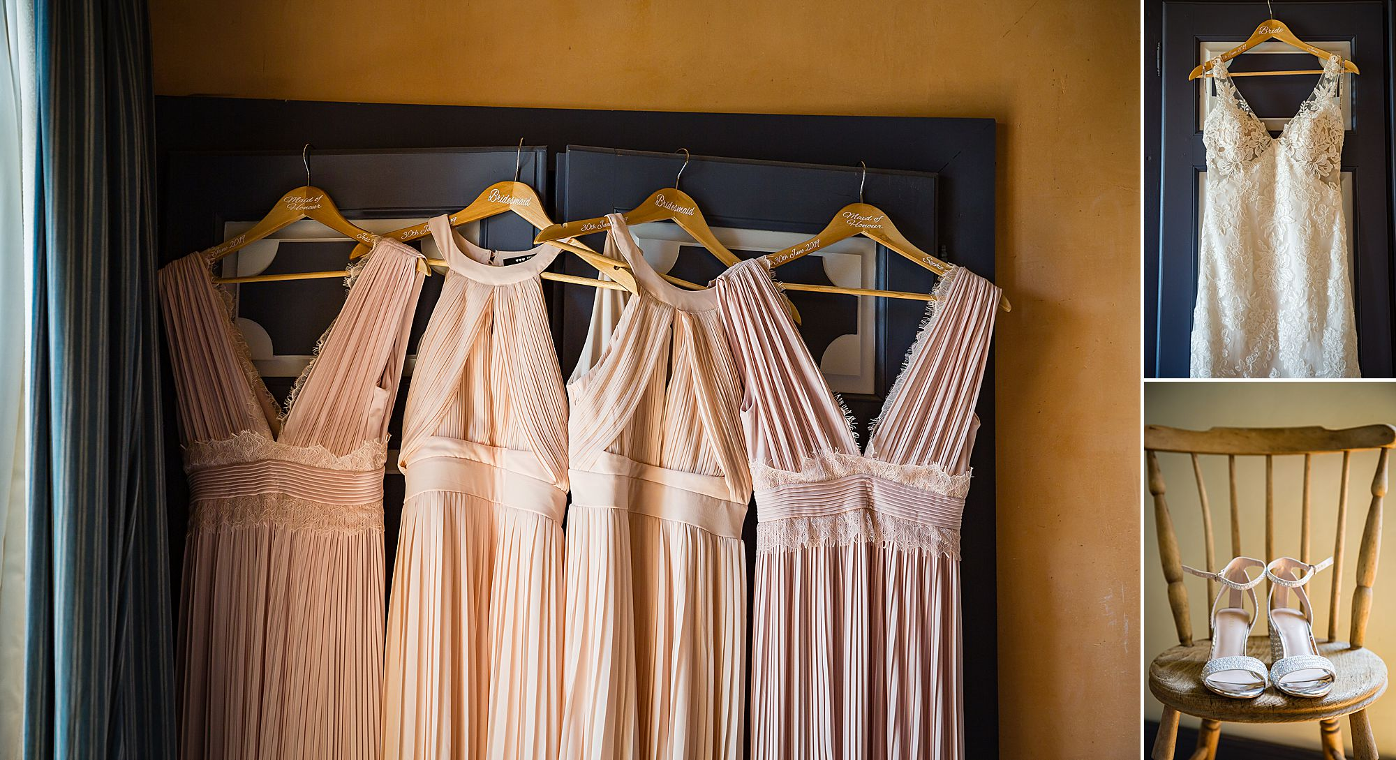 pink dresses hanging up