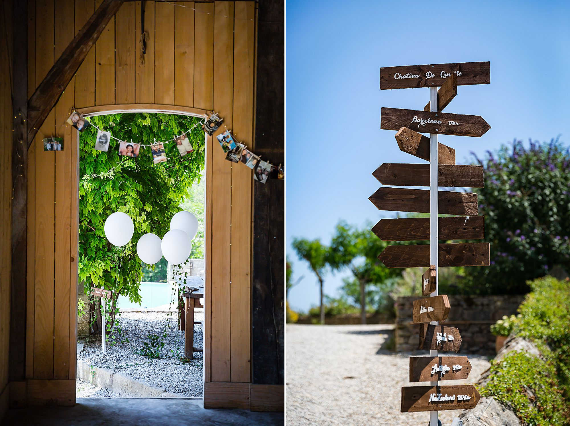 sign post at Chateau de Queille Wedding