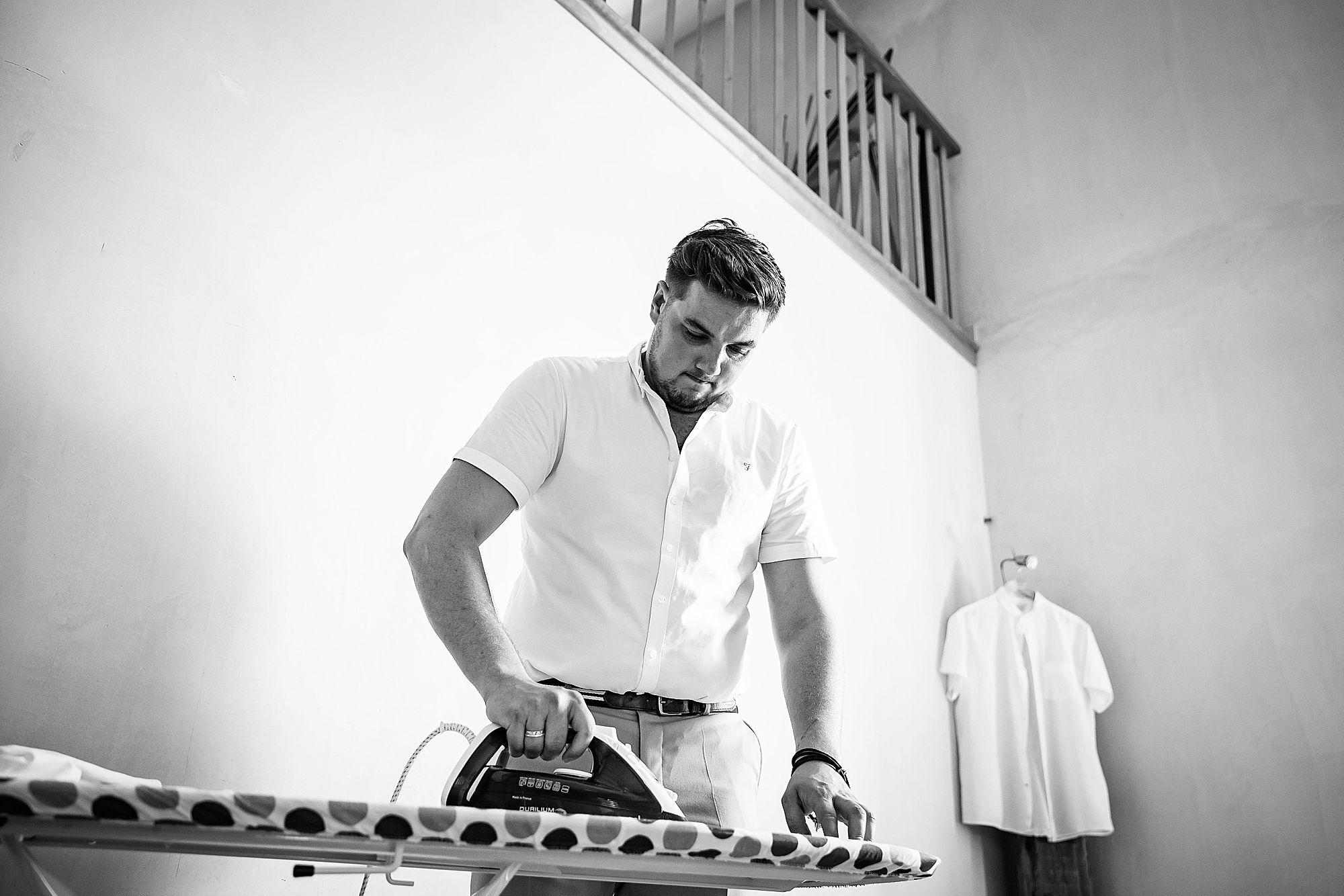 guy ironing