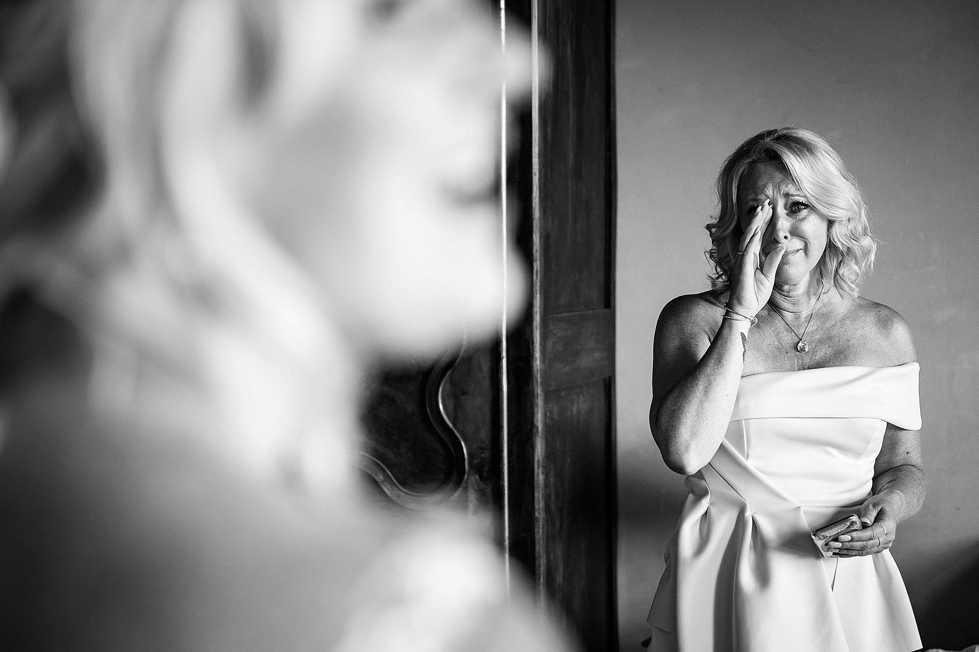 mum crying at wedding
