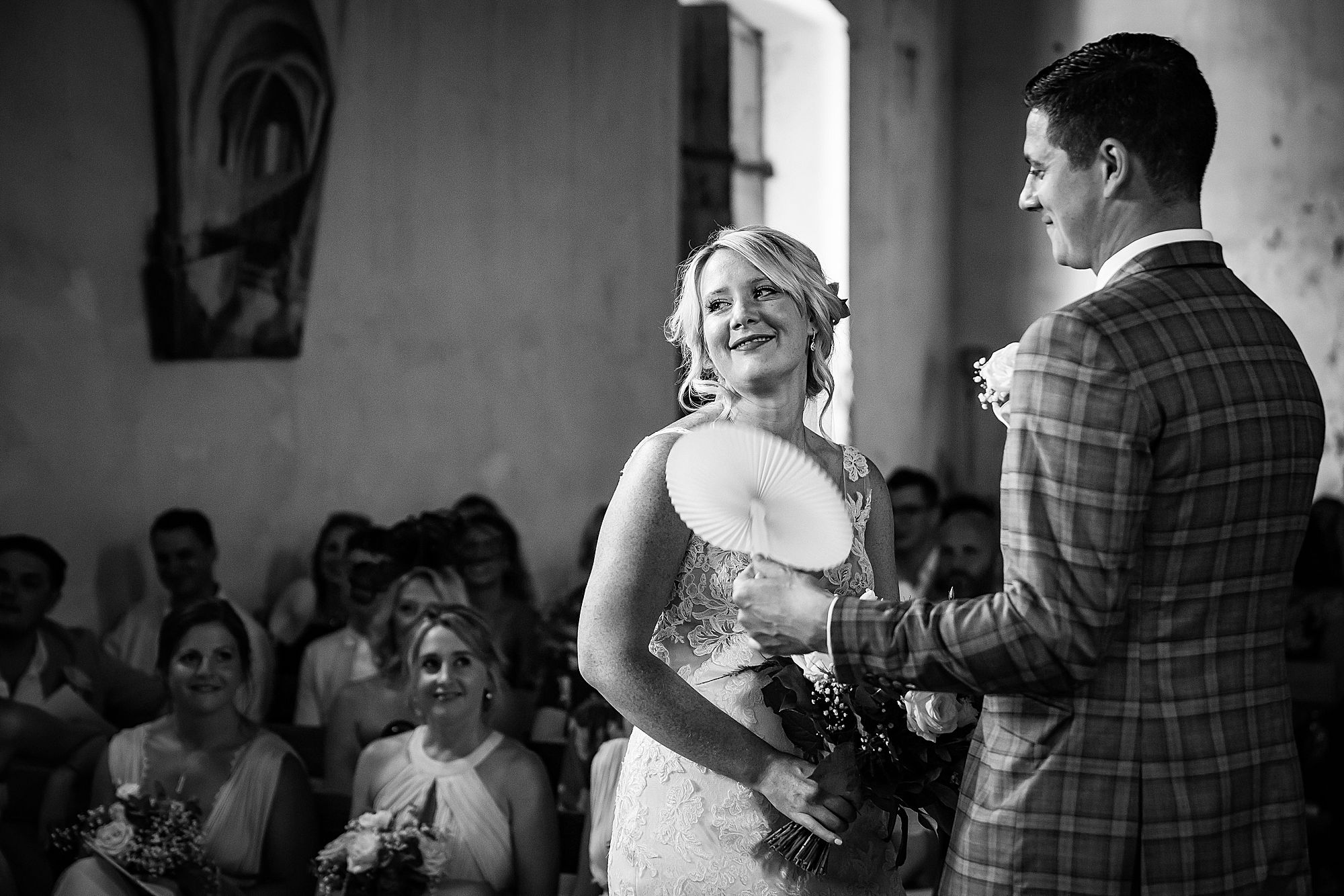 the wedding ceremony at Chateau de Queille Wedding