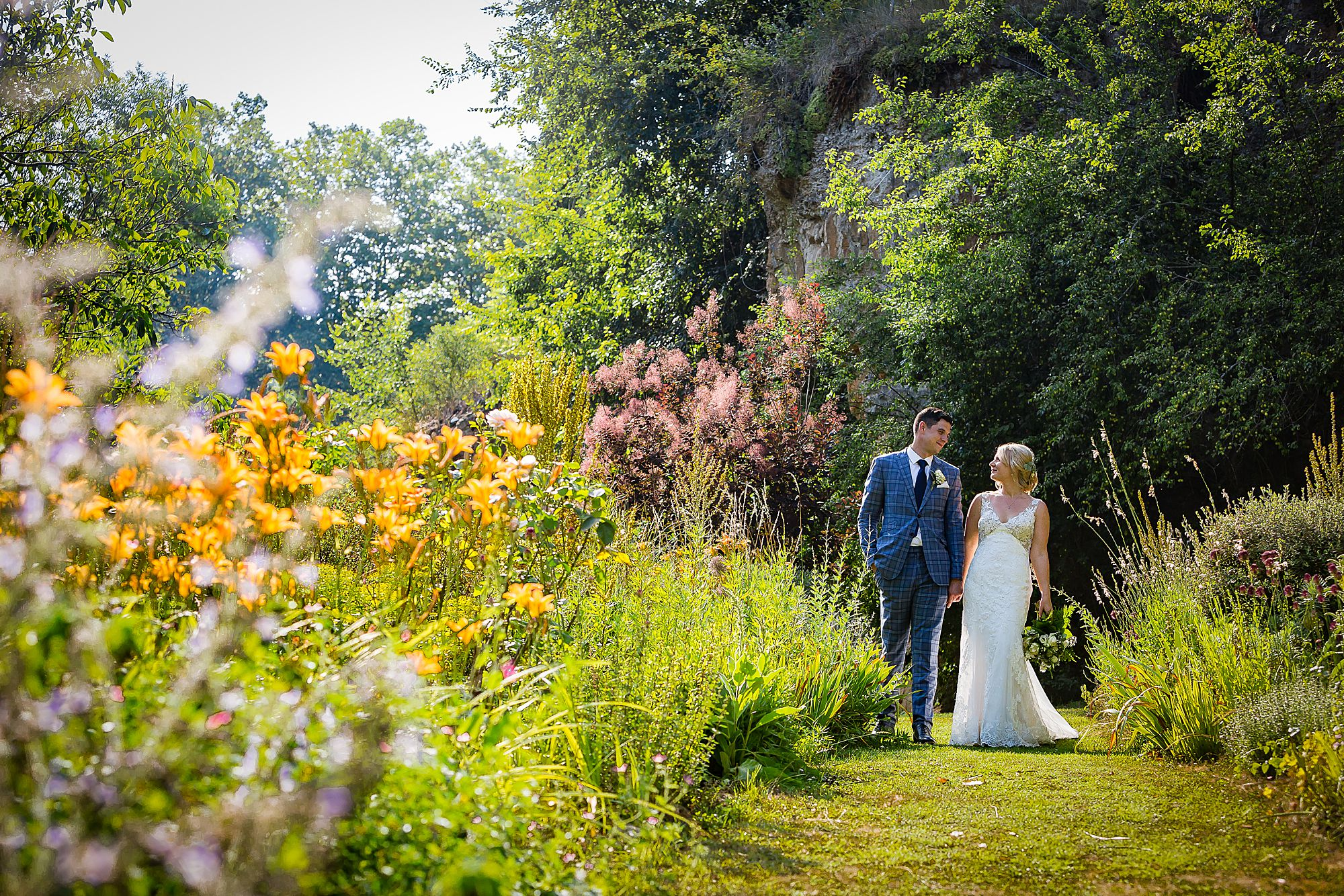 flower garden at Chateau de Queille Wedding