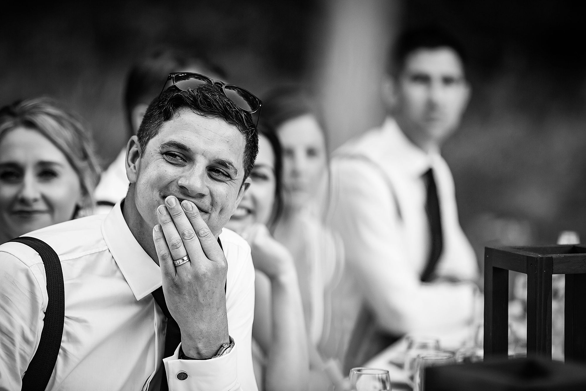 Chateau de Queille Wedding groom laughs