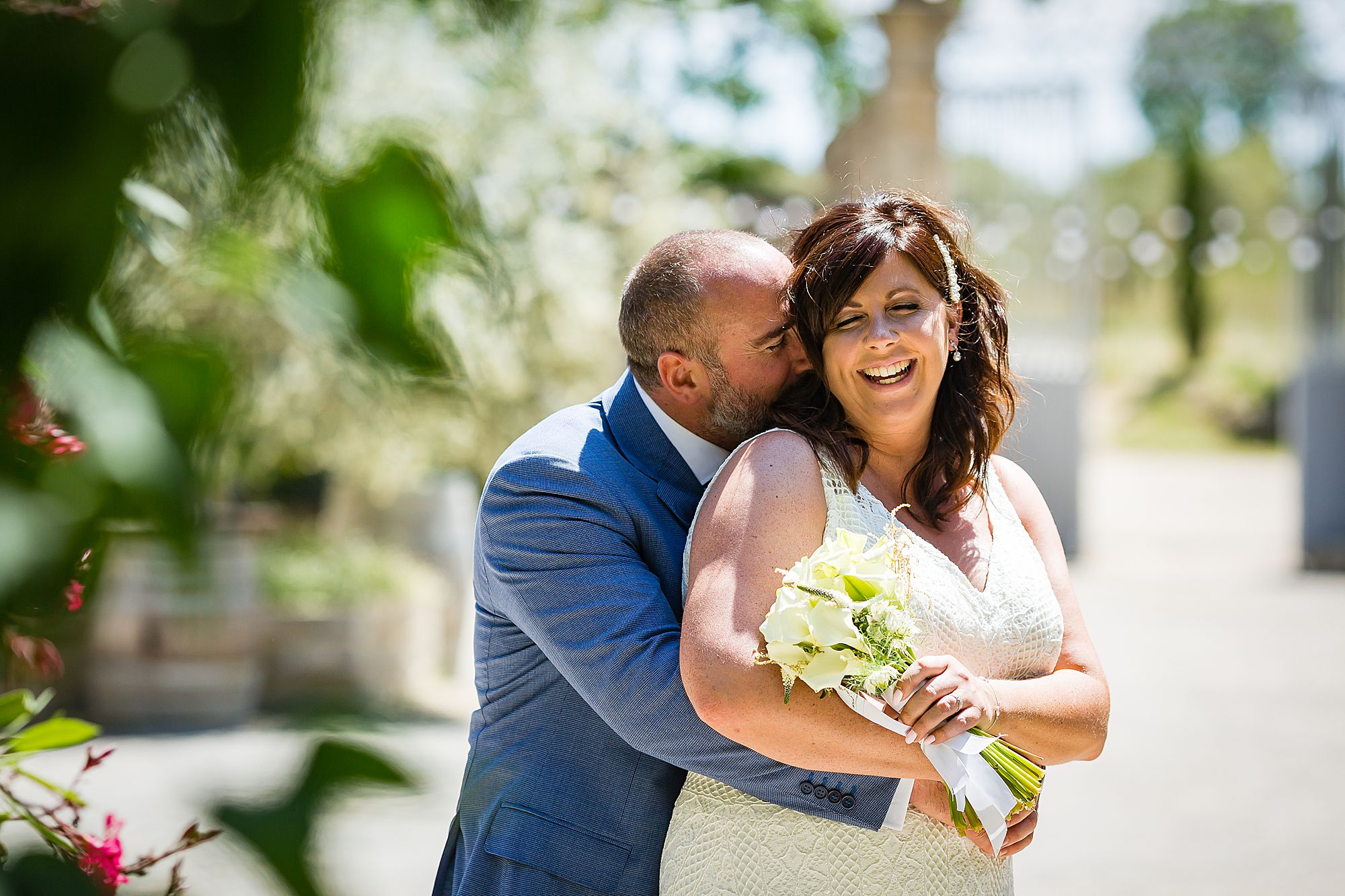 hugging Domaine de la Grangette wedding