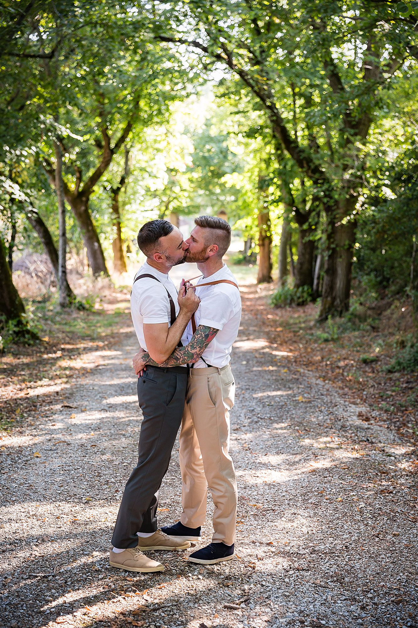 gay wedding in France couple kiss