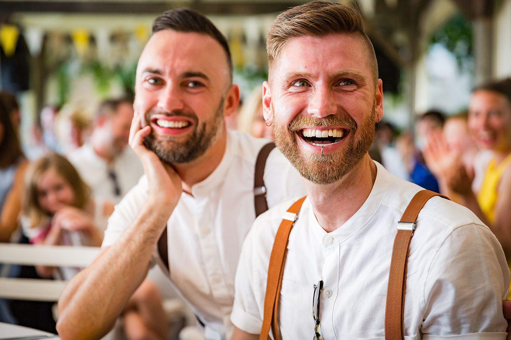 grooms smiling at gay wedding in France