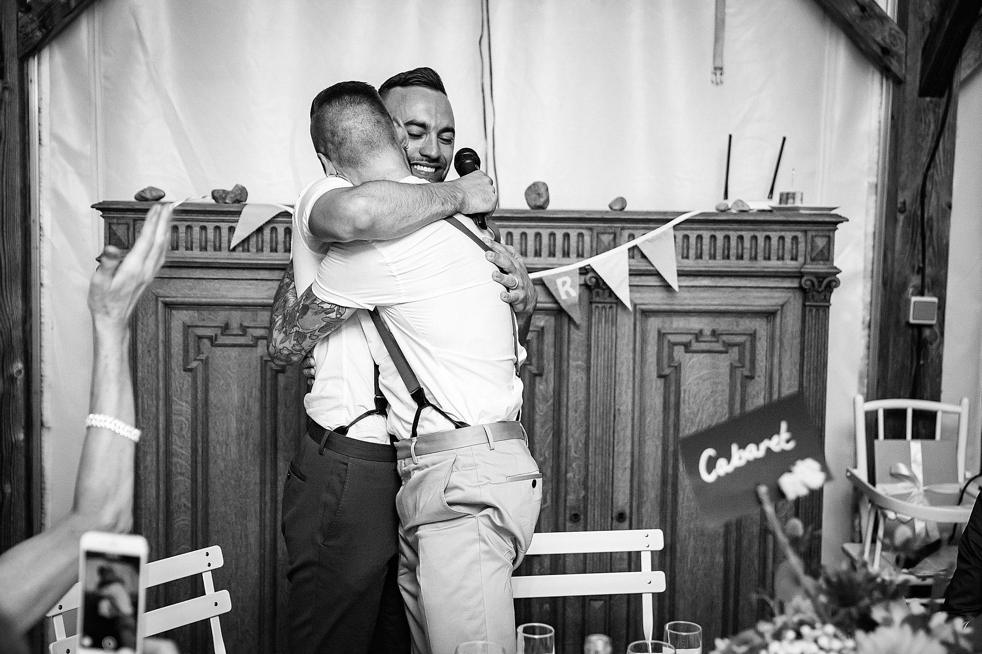 grooms hug