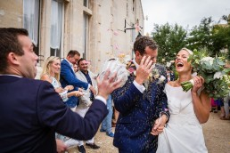 confetti at Chateau les Carrasses wedding
