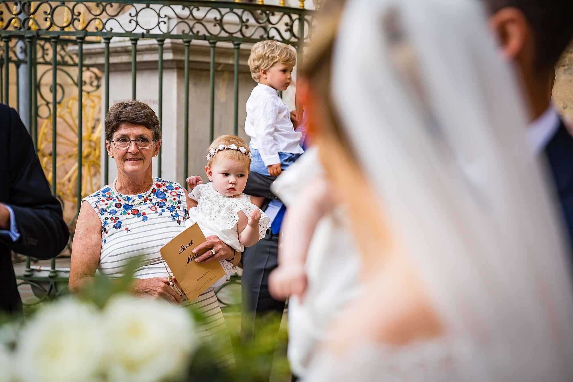 gran looks at bride