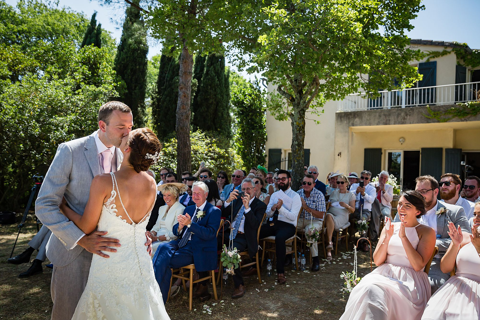 first kiss south of France wedding