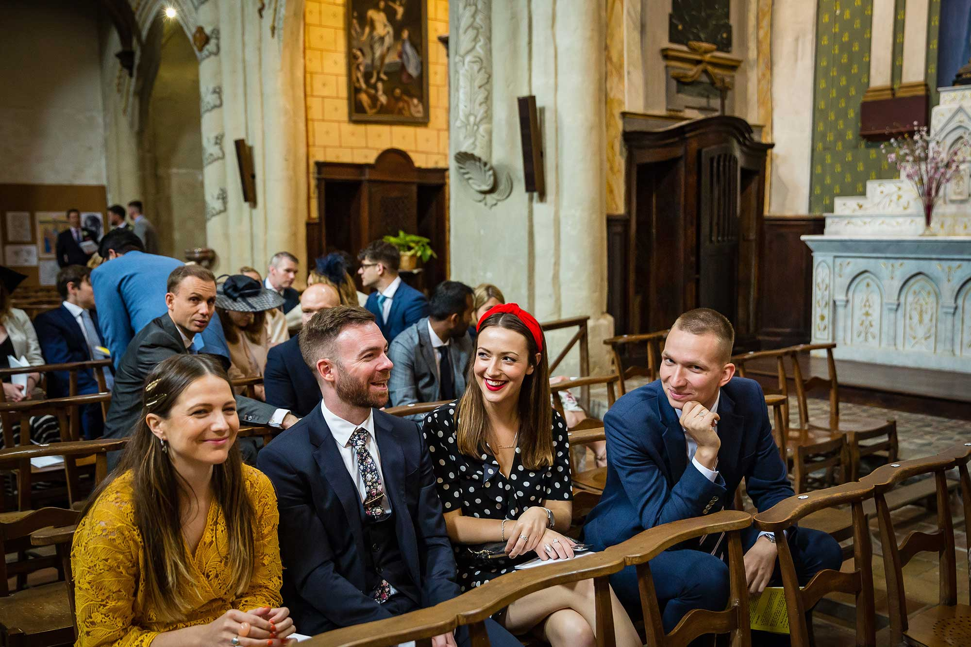 guests laughing in Lautrec church