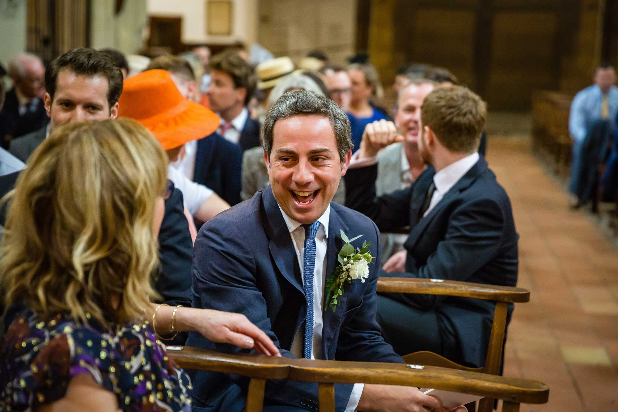 best man laughs in church