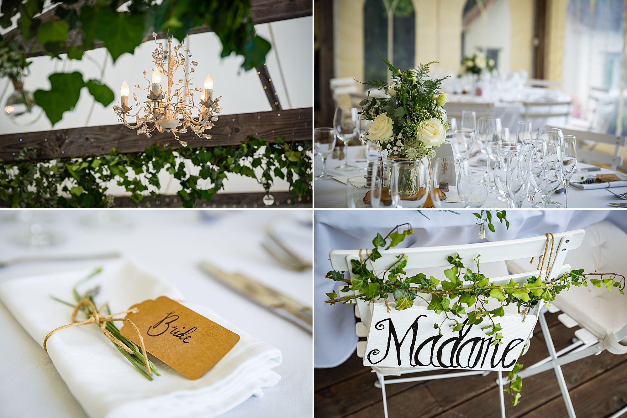 green and white wedding tables