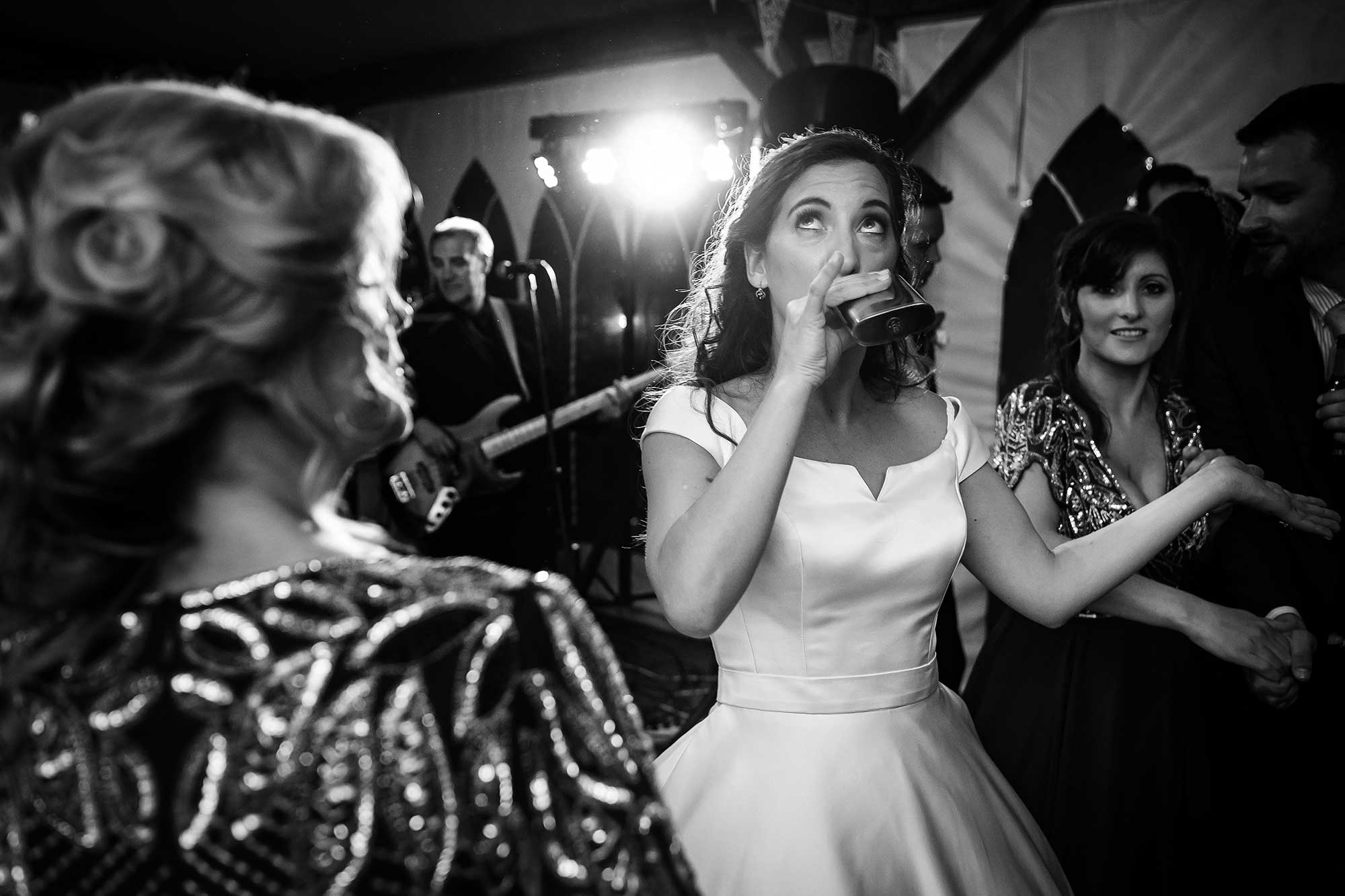 bride drinks whisky