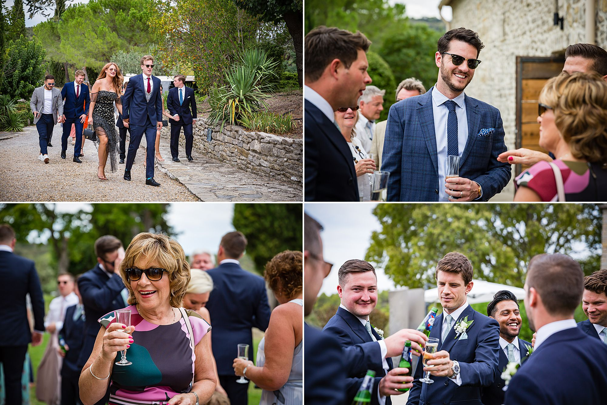 guests laughing before Arles Wedding