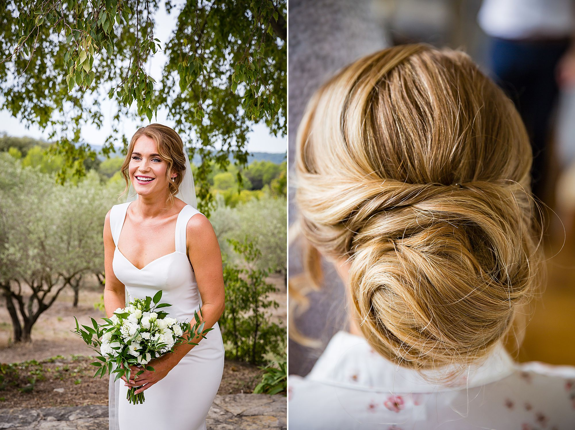 back of brides hair and her with her bouquet