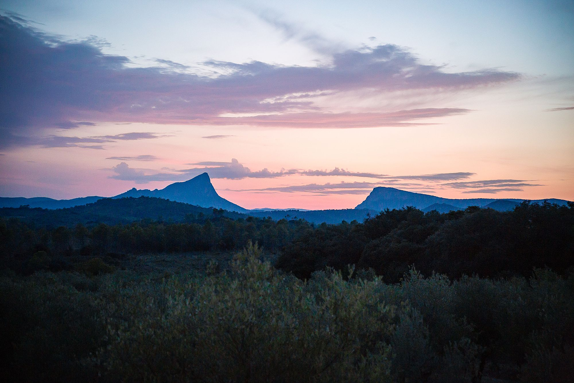 Pic Saint Loup sunset
