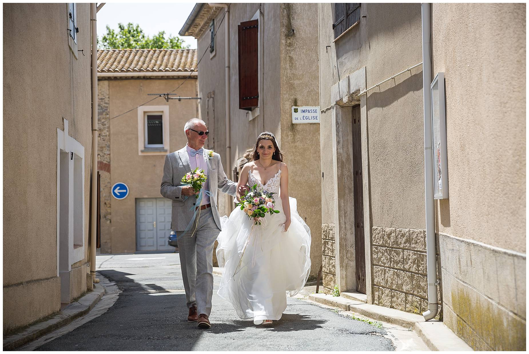 bride arrives at church wedding in France