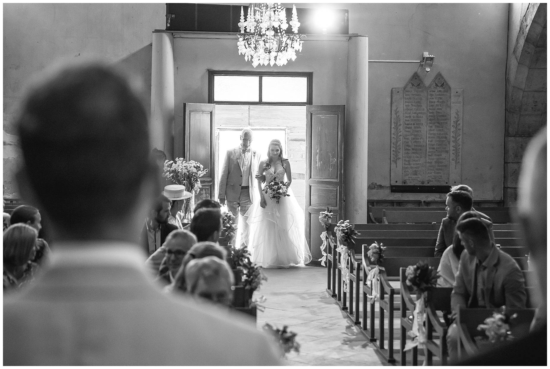 bride enters church in ginestras