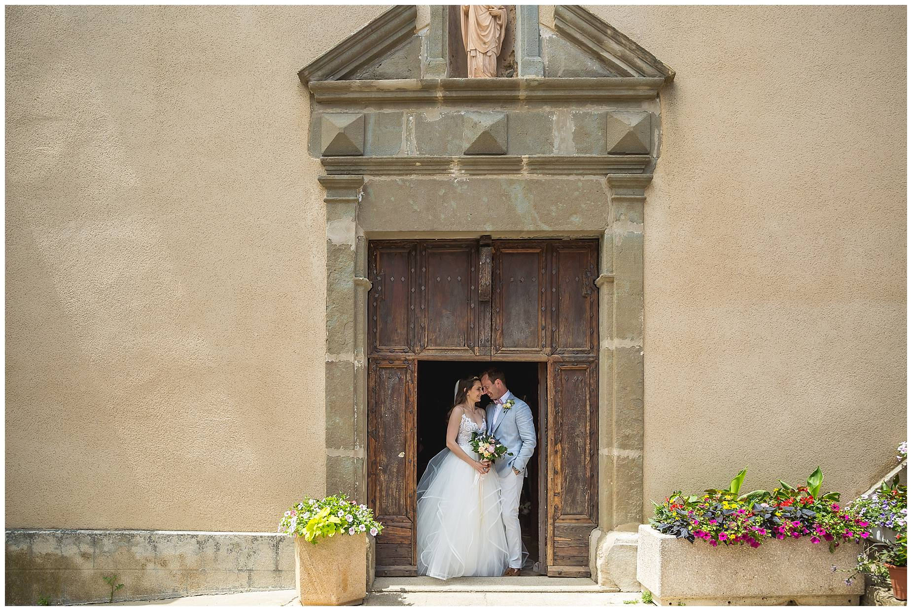 couple in church doorway