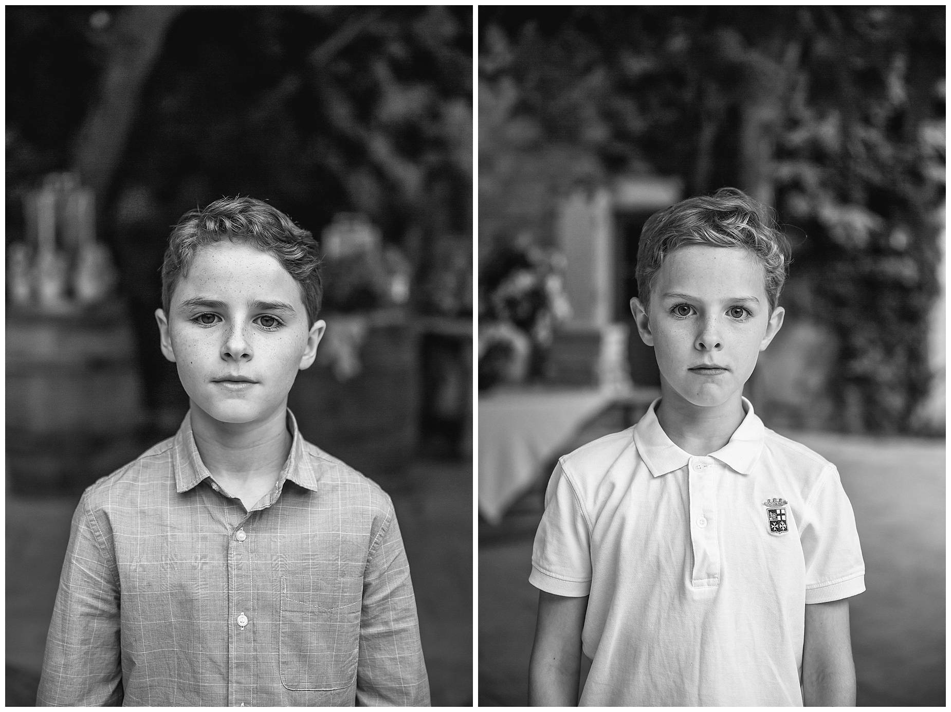 black and white kid portraits at wedding
